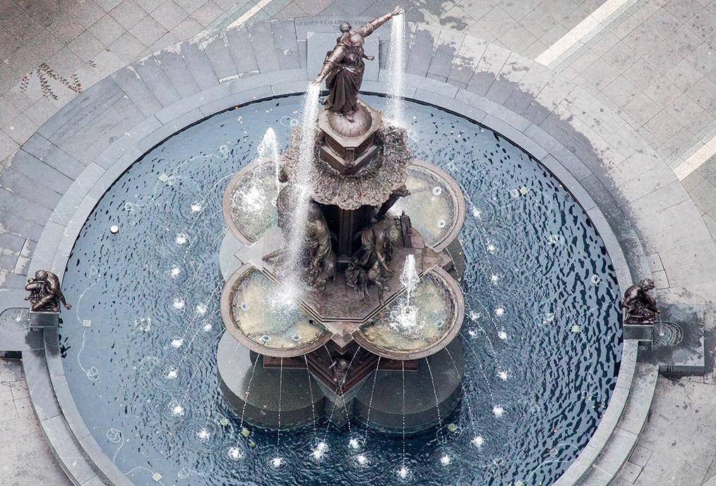 Overhead view of Fountain Square in Cincinnati.