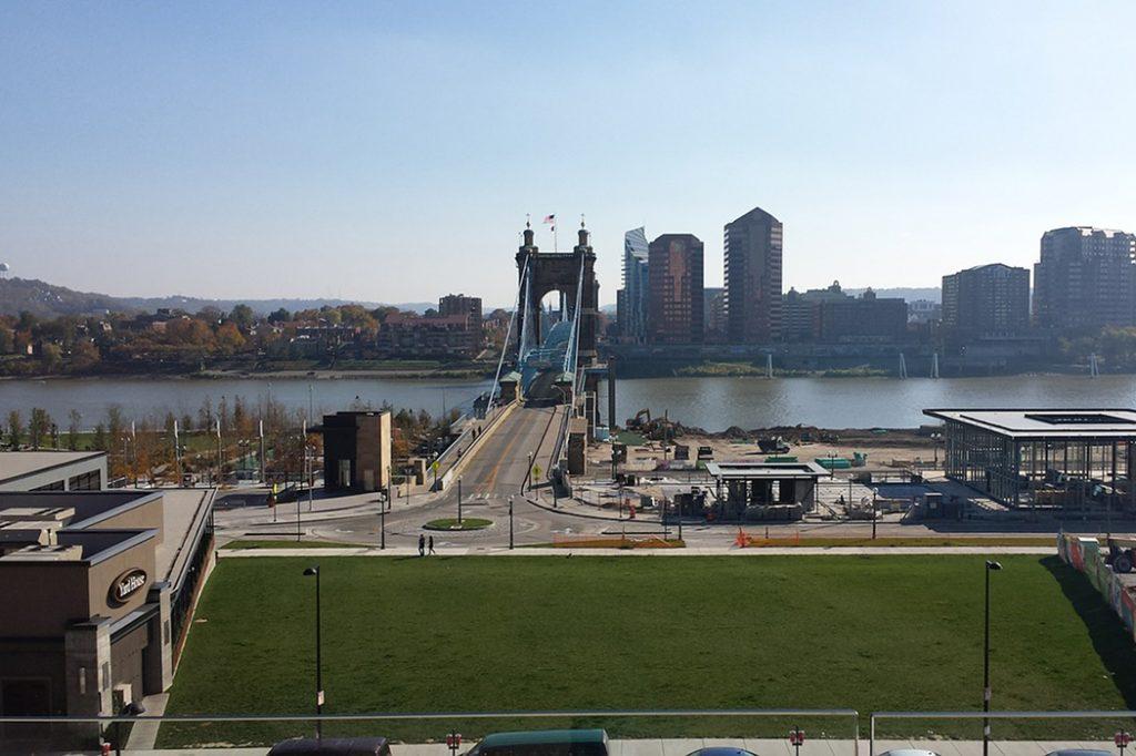 Photo of the Ohio River in Cincinnati, Ohio.
