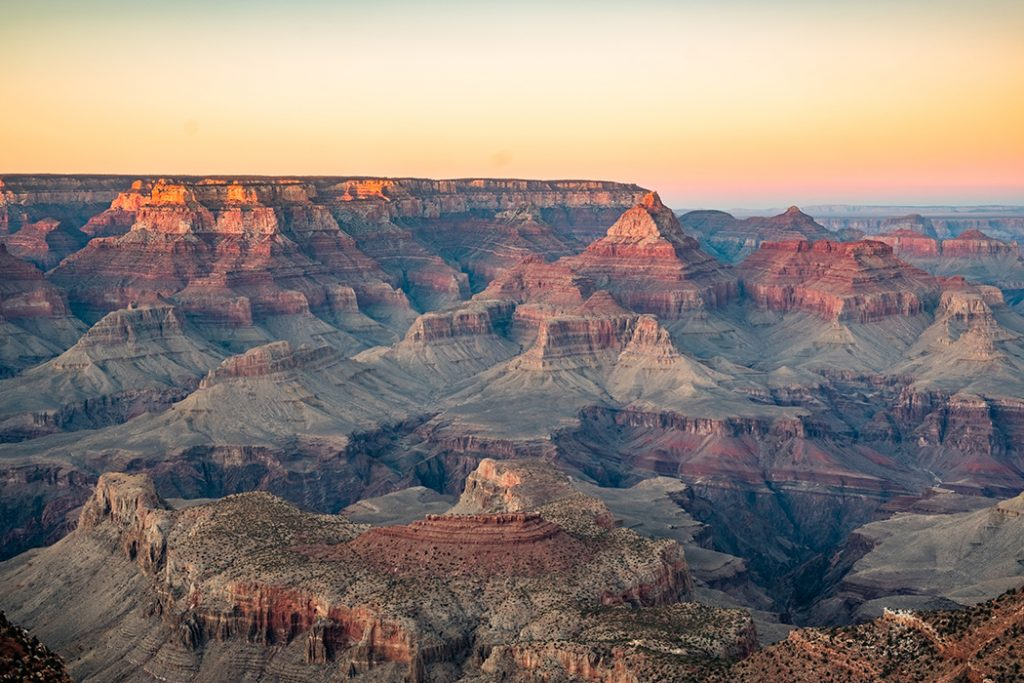 Scenic photo of the Grand Canyon at sunset.