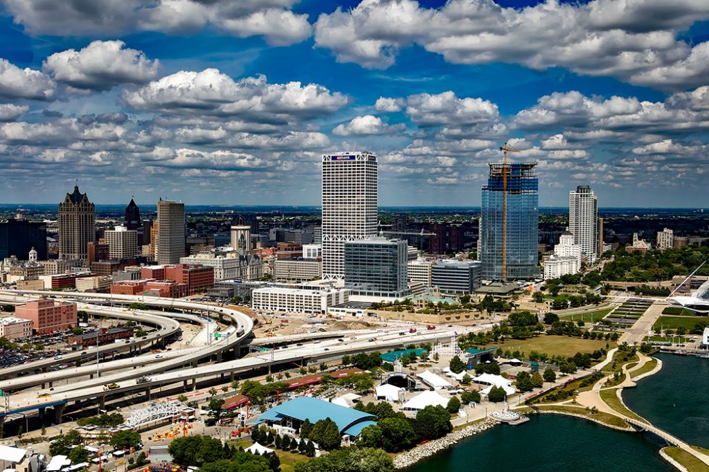 Photo of the Milwaukee, Wisconsin skyline, along the coast of Lake Michigan.