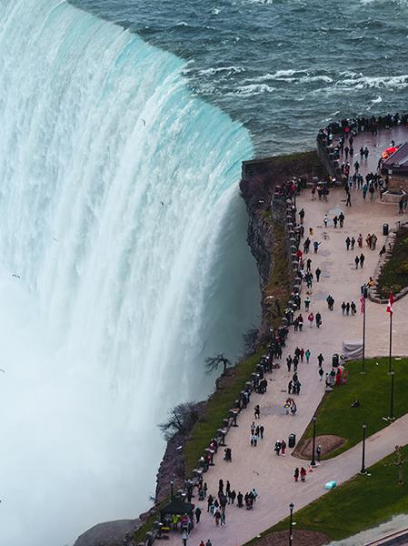 Photo of the roaring waterfall at Niagara Falls.