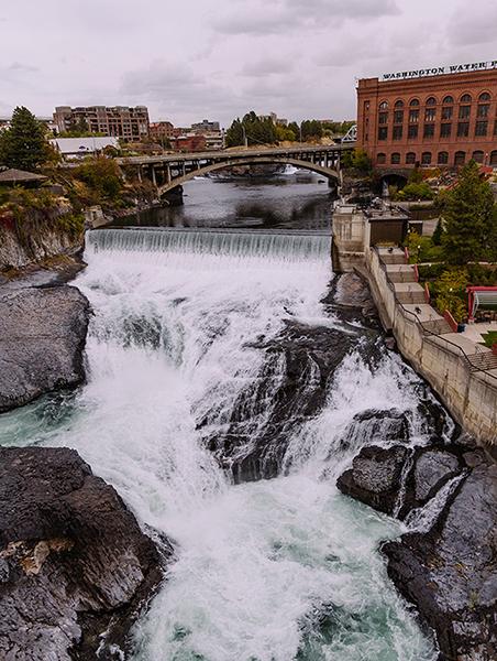 Photo of a waterfall in Spokane, Washington.