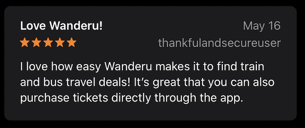 Review from a Wanderu user who was pleased with the capabilities of the Wanderu app.