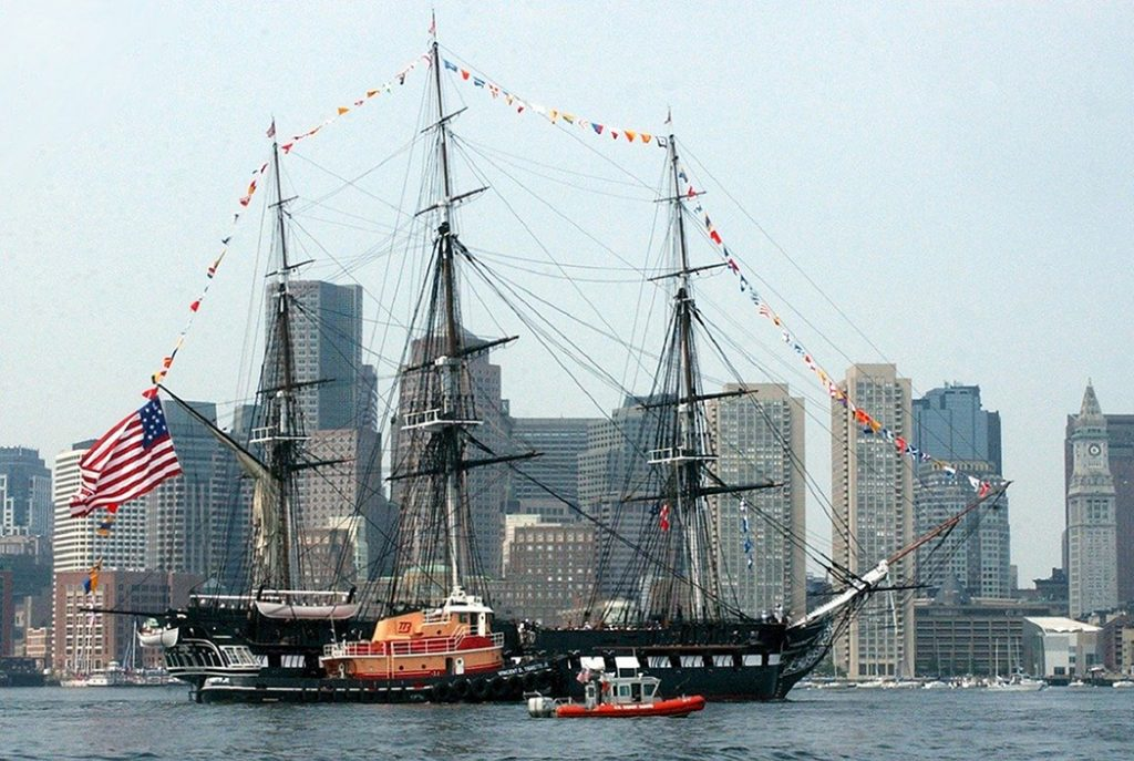The U.S.S. Constitution docked off of Charlestown in Boston.