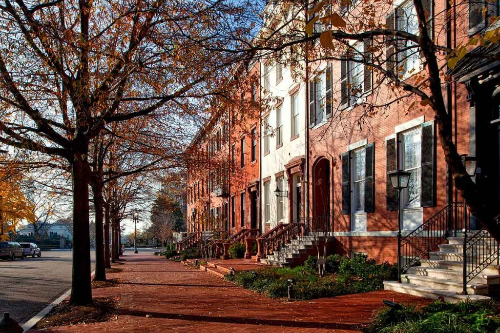 Photo of a brick street in Washington, DC in the fall.