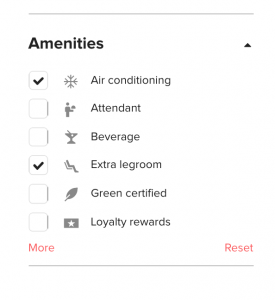 Screenshot showing the Wanderu amenities filter.