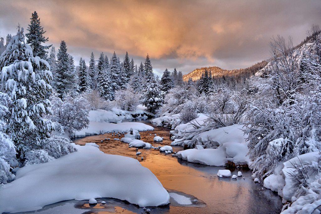 Photo of a frozen creek in Lake Tahoe, CA.
