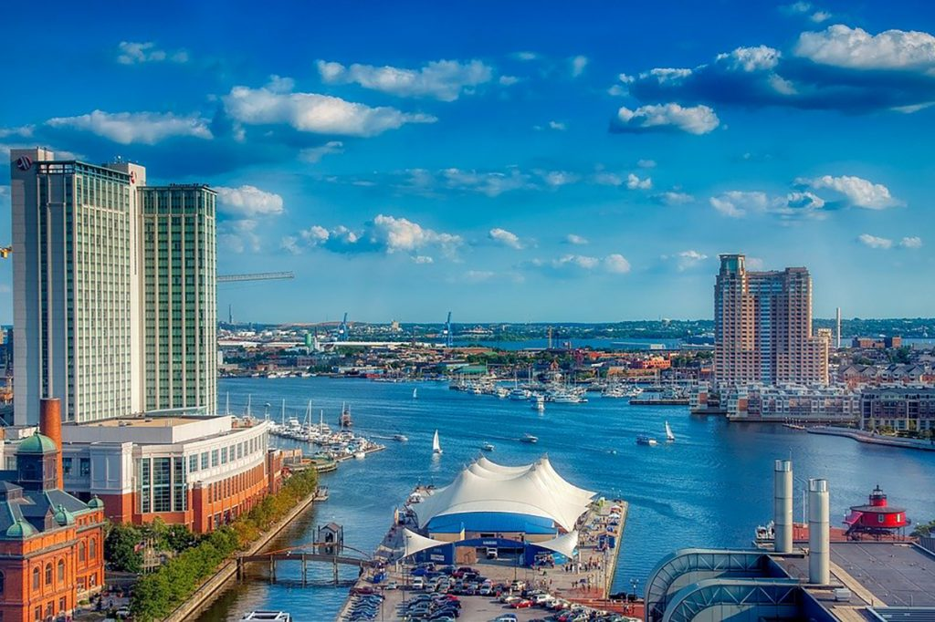 Photo of downtown Baltimore, including the Inner Harbor.