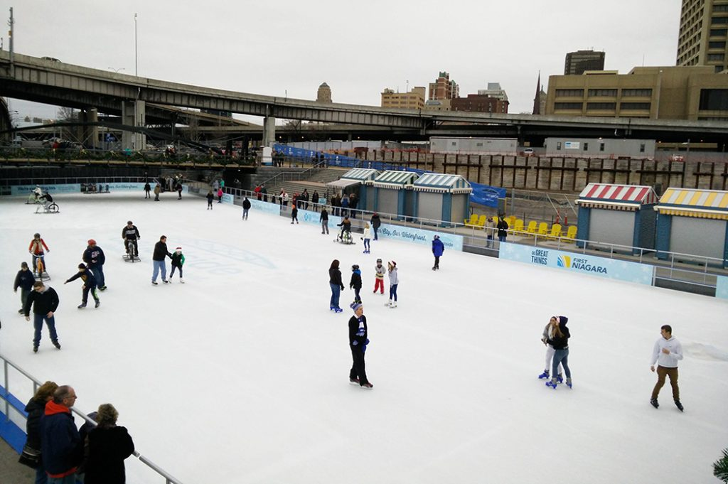 Photo of an ice skating rink in Buffalo, New York.