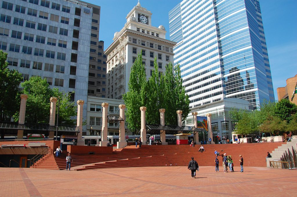 Photo of Pioneer Courthouse Square in Portland, Oregon.
