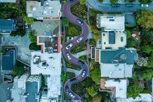 Bird's-eye view of Lombard Street in San Francisco.