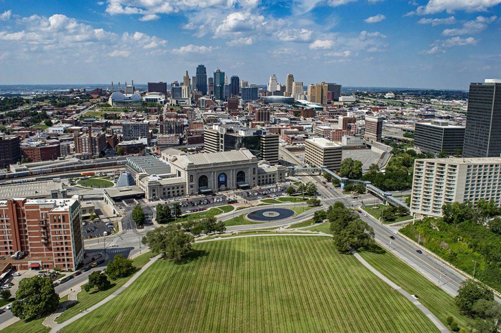 Bird's-eye view of Kansas City, Missouri.
