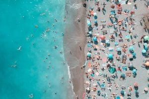 Overhead photo of beachgoers during spring break.