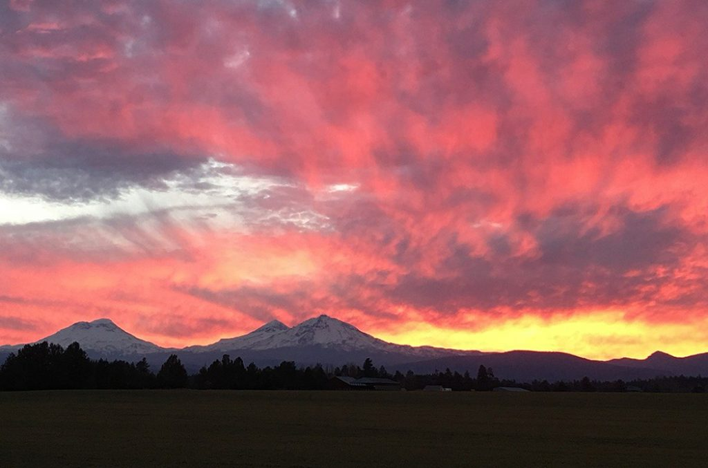 View of a sunset in rural Oregon.