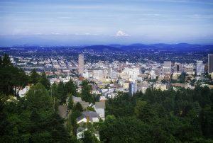 Photo of Portland, Oregon, with a backdrop of Mt. Hood.