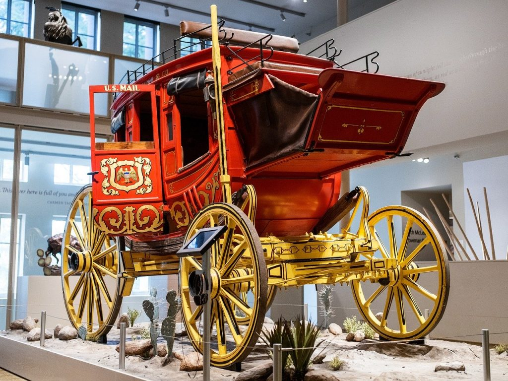 Stagecoach in the Well's Fargo Museum.