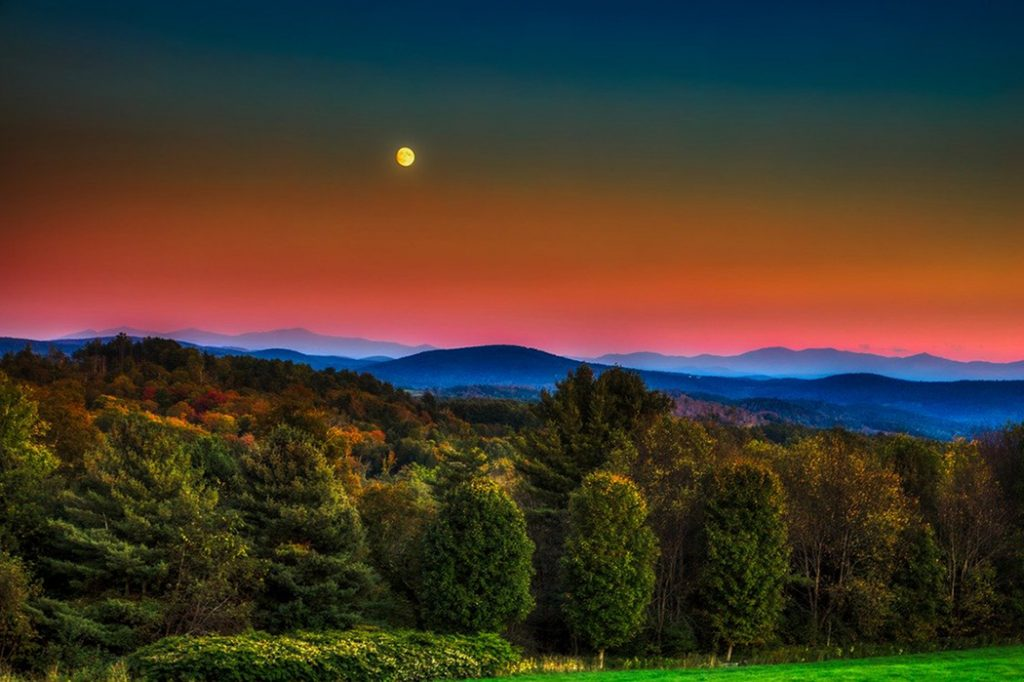 Sun setting over the Green Mountains.