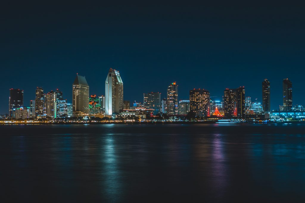 San Diego's skyline at night.