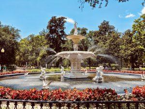 A fountain in Savannah, GA