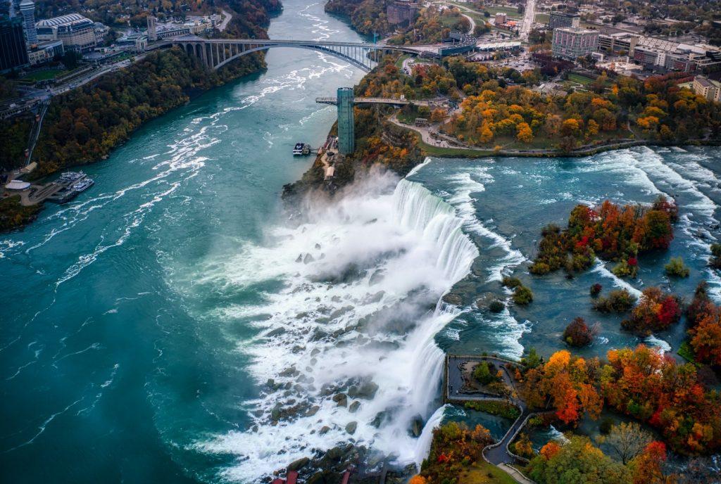 Niagara Falls, as seen from a plane