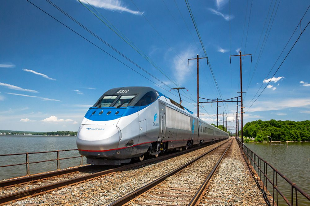 Photo of the Amtrak Acela passing through the Northeast Corridor.