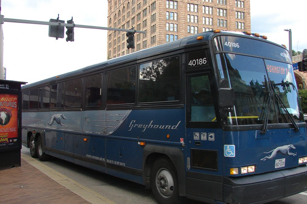 Photo of a Greyhound bus headed to Washington, D.C.