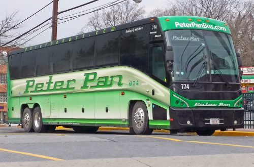 Photo of a Peter Pan Bus Lines bus at a curbside stop.