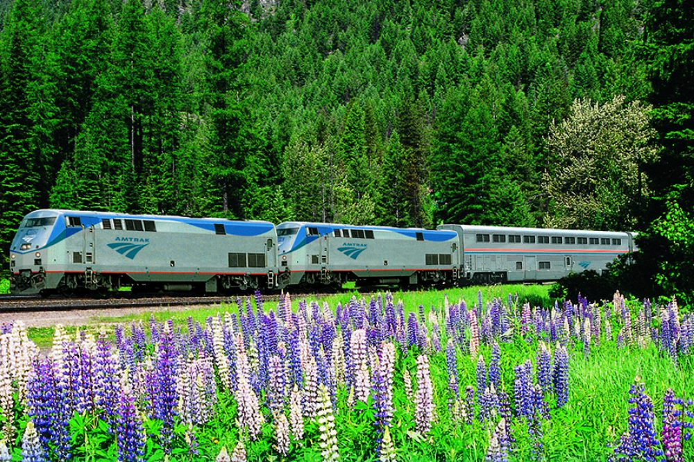 Photo of an Amtrak train in the spring time.