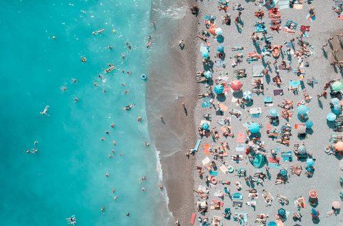 Overhead photo of beachgoers during spring break.