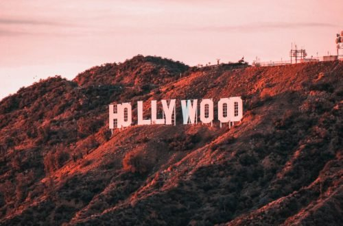 Photo of the Hollywood sign in Los Angeles at sunset.