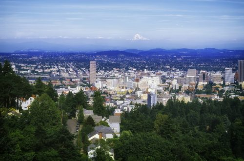 Photo of Portland, Oregon, with a backdrop of Mt. Hood.